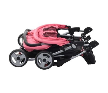 vidaXL Vaikiškas vežimėlis dvynukams, rožinės ir juodos spal., plienas[5/8]
