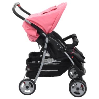 vidaXL Vaikiškas vežimėlis dvynukams, rožinės ir juodos spal., plienas[4/8]