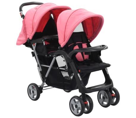 vidaXL Vaikiškas dvivietis vežimėlis, rožinis/juodas, plienas[1/9]