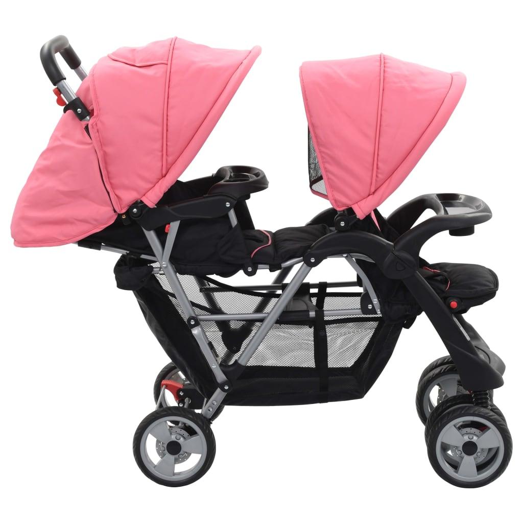 Tandemový kočárek růžovočerný ocel