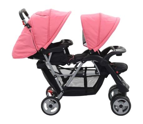 vidaXL Vaikiškas dvivietis vežimėlis, rožinis/juodas, plienas[3/9]