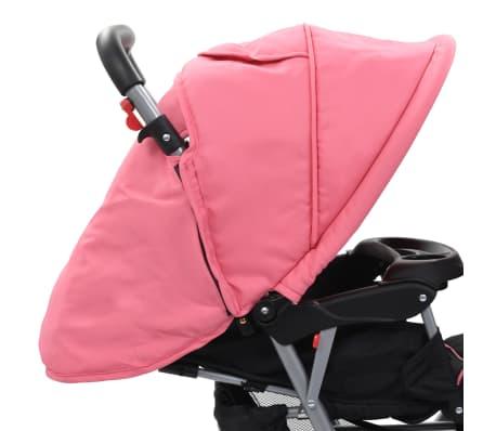 vidaXL Vaikiškas dvivietis vežimėlis, rožinis/juodas, plienas[6/9]
