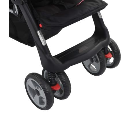 vidaXL Vaikiškas dvivietis vežimėlis, rožinis/juodas, plienas[9/9]