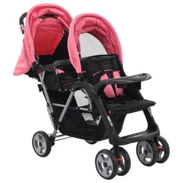 vidaXL Vaikiškas dvivietis vežimėlis, rožinis/juodas, plienas[2/9]