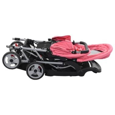 vidaXL Vaikiškas dvivietis vežimėlis, rožinis/juodas, plienas[4/9]