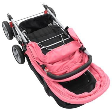vidaXL Vaikiškas dvivietis vežimėlis, rožinis/juodas, plienas[5/9]