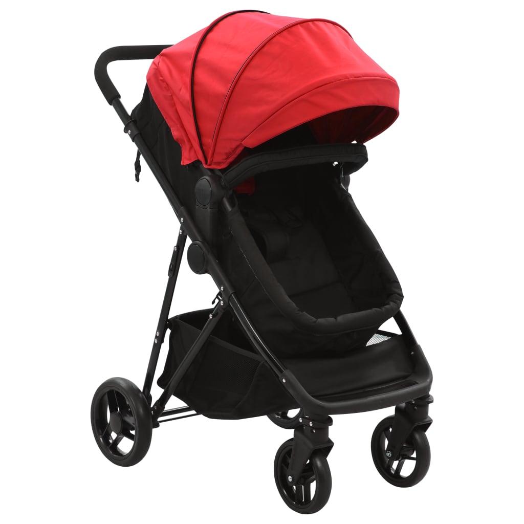 vidaXL Căruț/landou pentru copii 2-în-1, roșu și negru, oțel poza vidaxl.ro