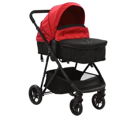 vidaXL Vaik. vežimėlis/neš. lopšys, 2-1, raud. ir juod. sp., plienas[2/9]