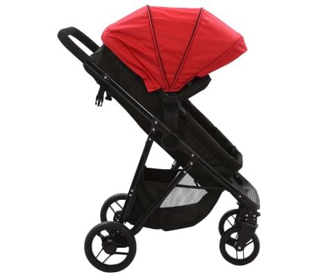 vidaXL Vaik. vežimėlis/neš. lopšys, 2-1, raud. ir juod. sp., plienas[3/9]