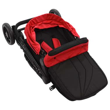 vidaXL Vaik. vežimėlis/neš. lopšys, 2-1, raud. ir juod. sp., plienas[6/9]