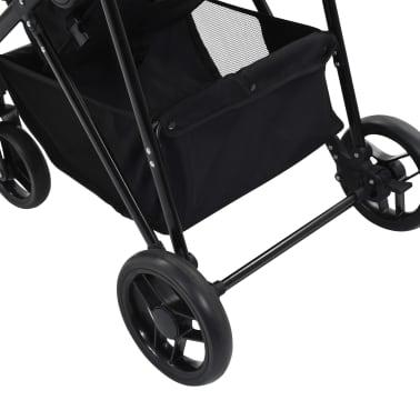 vidaXL Vaik. vežimėlis/neš. lopšys, 2-1, raud. ir juod. sp., plienas[9/9]