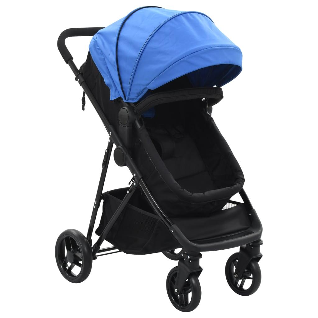 vidaXL Căruț/landou pentru copii 2-în-1, albastru și negru, oțel poza vidaxl.ro