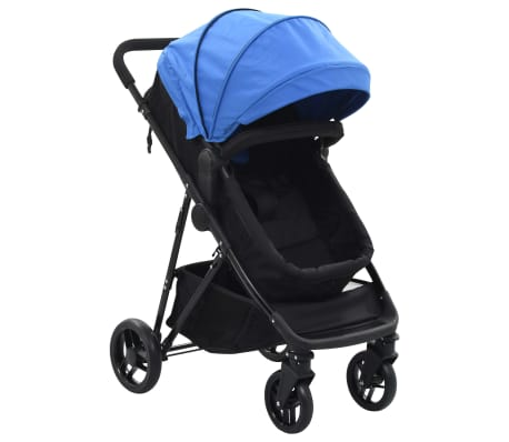 vidaXL Καροτσάκι Παιδικό/Πορτ-Μπεμπέ 2 σε 1 Μπλε και Μαύρο Ατσάλινο