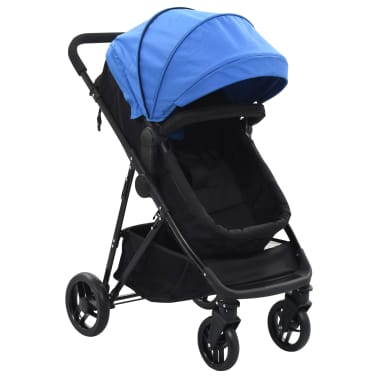 vidaXL Καροτσάκι Παιδικό/Πορτ-Μπεμπέ 2 σε 1 Μπλε και Μαύρο Ατσάλινο[1/9]
