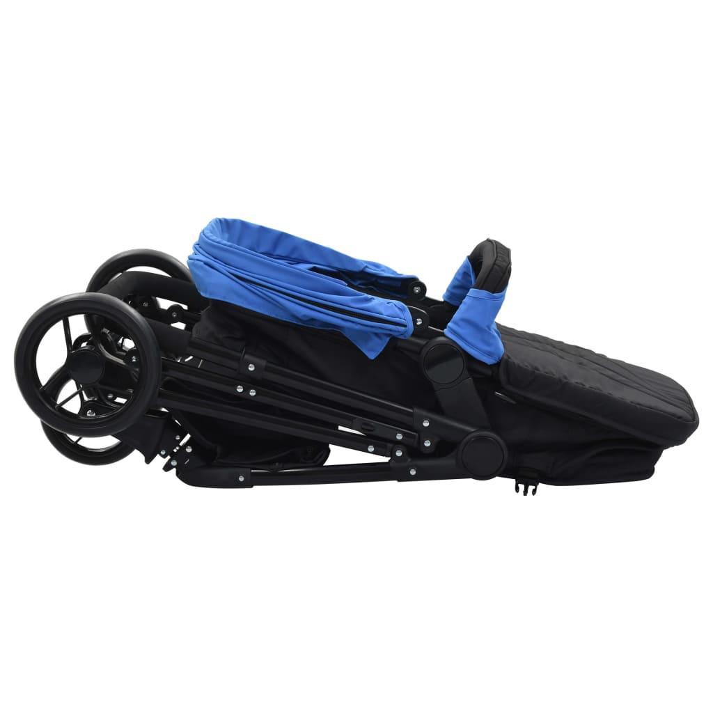 Sportovní/hluboký kočárek 2 v 1 modročerný ocel