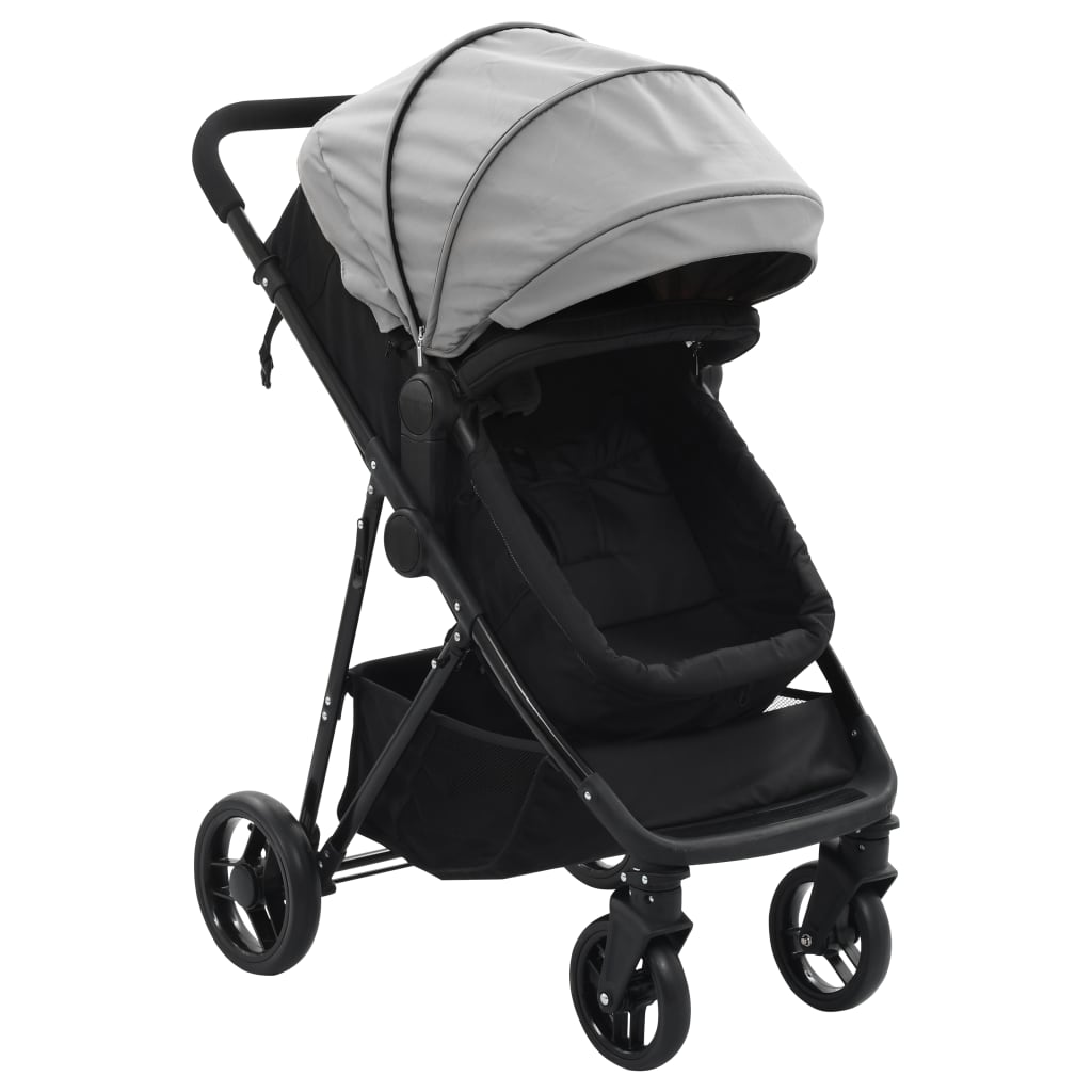vidaXL Căruț/landou pentru copii 2-în-1, gri și negru, oțel poza vidaxl.ro