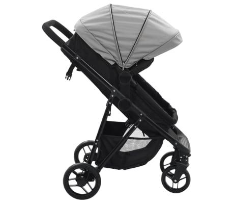 vidaXL Vaik. vežimėlis/neš. lopšys, 2-1, pilk. ir juod. sp., plienas[3/9]