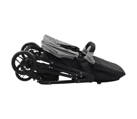 vidaXL Vaik. vežimėlis/neš. lopšys, 2-1, pilk. ir juod. sp., plienas[5/9]