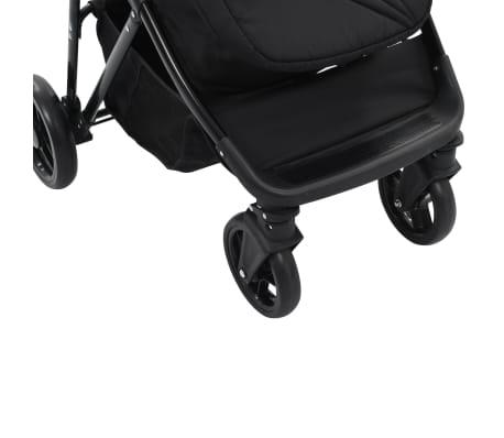 vidaXL Vaik. vežimėlis/neš. lopšys, 2-1, pilk. ir juod. sp., plienas[8/9]