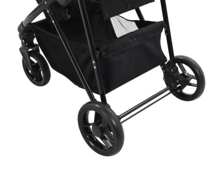 vidaXL Vaik. vežimėlis/neš. lopšys, 2-1, pilk. ir juod. sp., plienas[9/9]