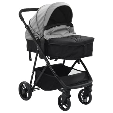 vidaXL Vaik. vežimėlis/neš. lopšys, 2-1, pilk. ir juod. sp., plienas[2/9]
