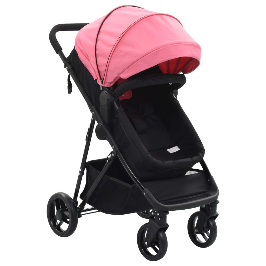 vidaXL Căruț/landou pentru copii 2-în-1, roz și negru, oțel poza vidaxl.ro
