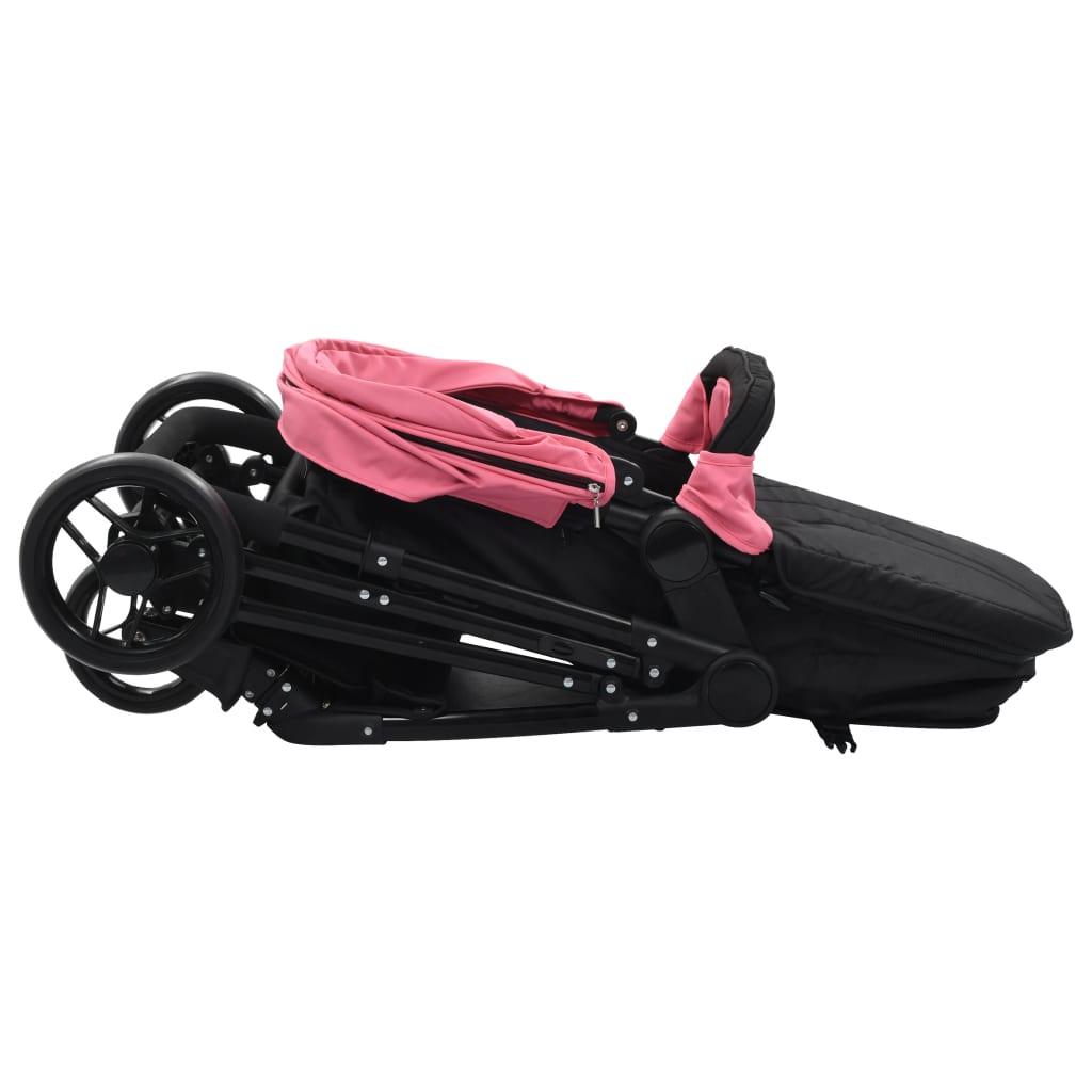 Sportovní/hluboký kočárek 2 v 1 růžovočerný ocel
