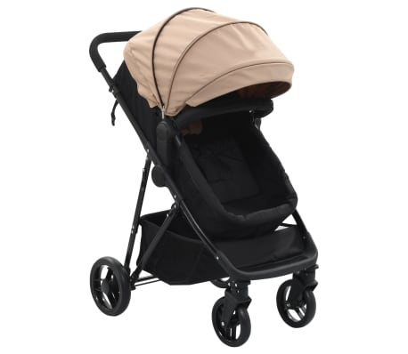 vidaXL Carrinho de bebé/berço 2 em 1 aço cinzento acastanhado e preto