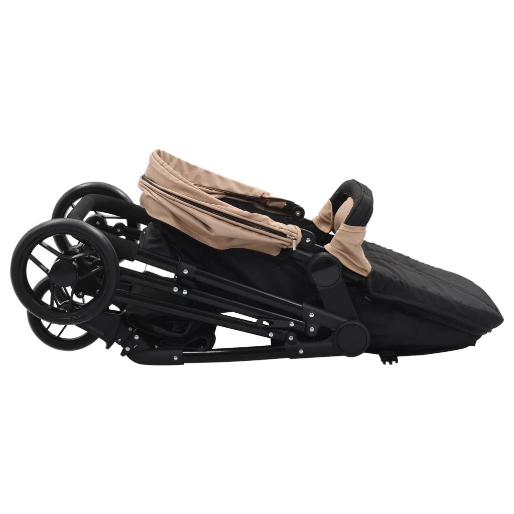 Sportovní/hluboký kočárek 2 v 1 taupe a černý ocel