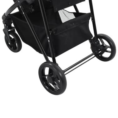 vidaXL Vaik. vežimėlis/neš. lopšys, 2-1, taupe ir juod. sp., plienas[9/9]