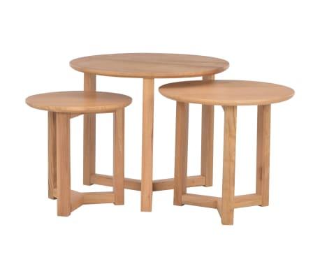 vidaXL Kavos staliukai, 3 vnt., ąžuolo medienos masyvas[1/10]