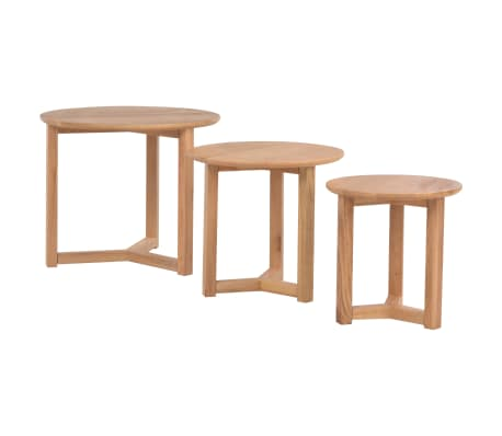 vidaXL Kavos staliukai, 3 vnt., ąžuolo medienos masyvas[3/10]