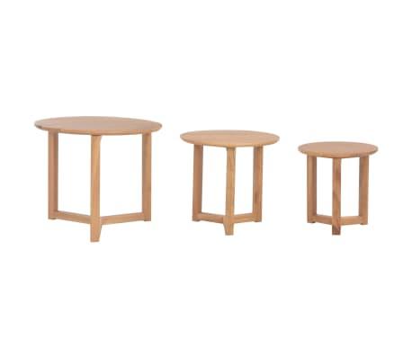 vidaXL Kavos staliukai, 3 vnt., ąžuolo medienos masyvas[4/10]