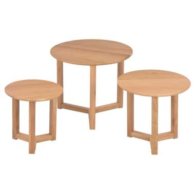 vidaXL Kavos staliukai, 3 vnt., ąžuolo medienos masyvas[2/10]