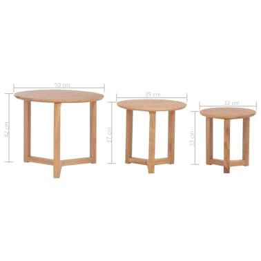 vidaXL Kavos staliukai, 3 vnt., ąžuolo medienos masyvas[10/10]