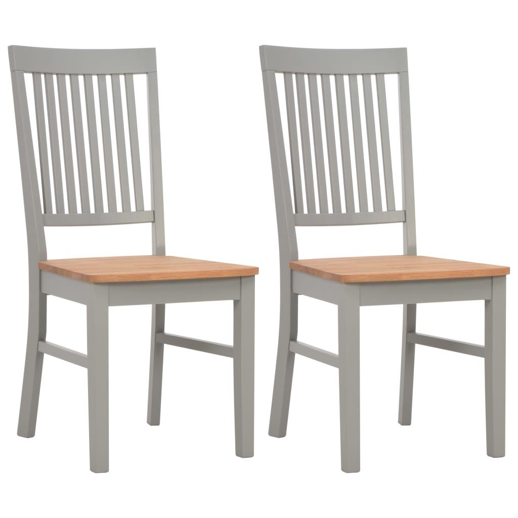 vidaXL Καρέκλες Τραπεζαρίας 2 τεμ. Γκρι από Μασίφ Ξύλο Δρυός