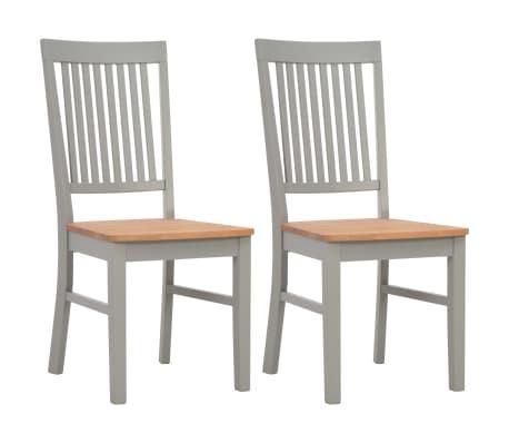 vidaXL Chaises à dîner 2 pcs Gris Bois de chêne solide