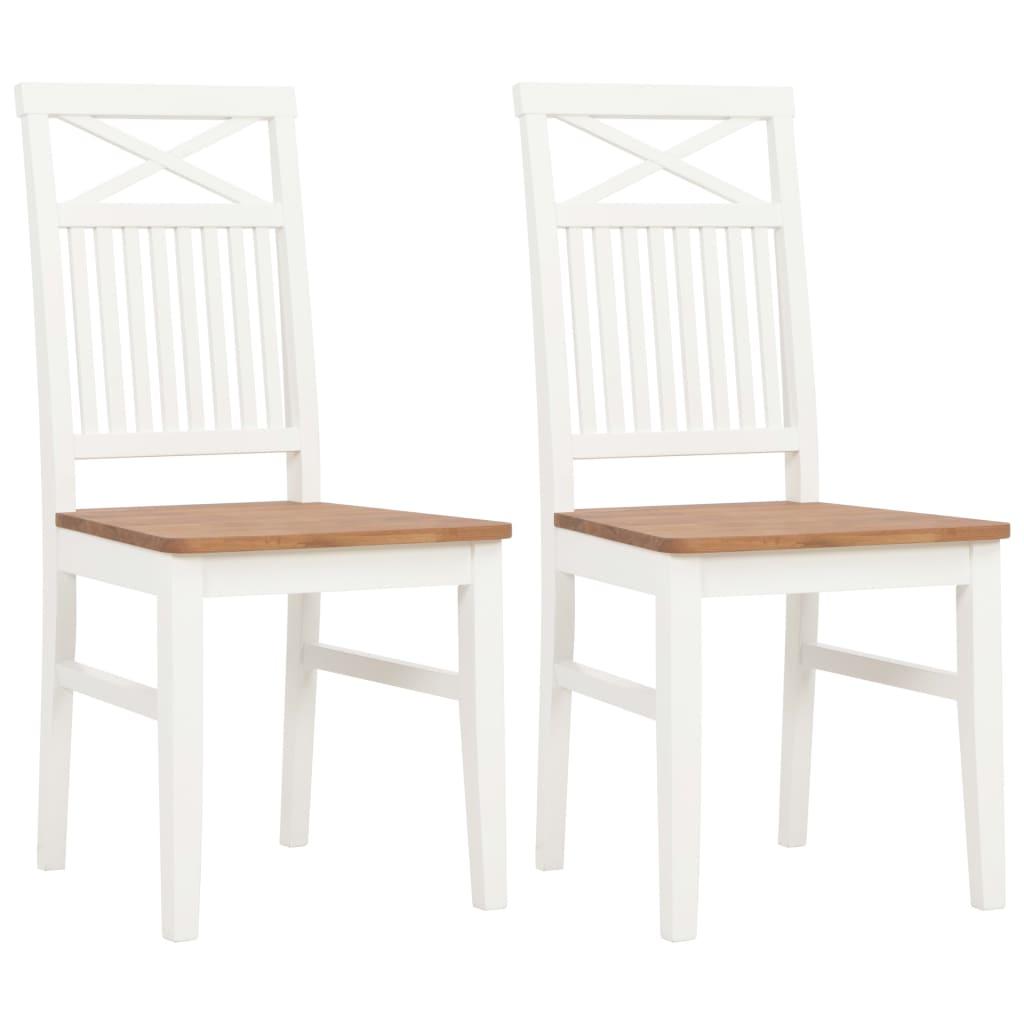 vidaXL Καρέκλες Τραπεζαρίας 2 τεμ. Λευκές από Μασίφ Ξύλο Δρυός