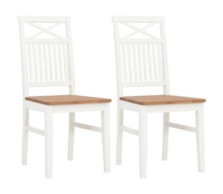 vidaXL Chaises à dîner 2 pcs Blanc Bois de chêne solide