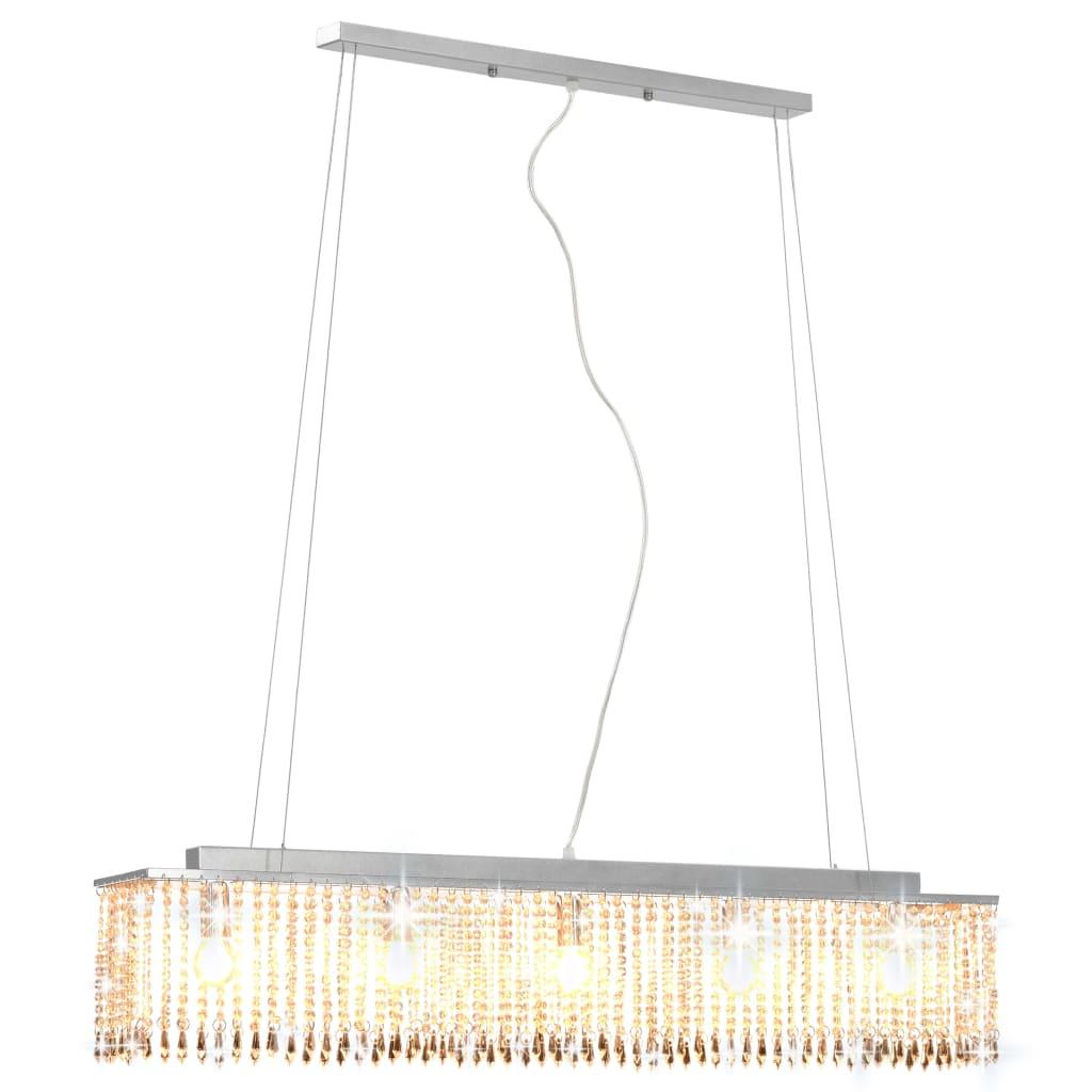 vidaXL Φωτιστικό Οροφής Ασημί με Κρυστάλλινες Χάντρες 104 εκ. Ε14