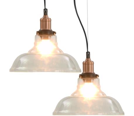 vidaXL Hanglampen 2 st rond E27 28 cm transparant