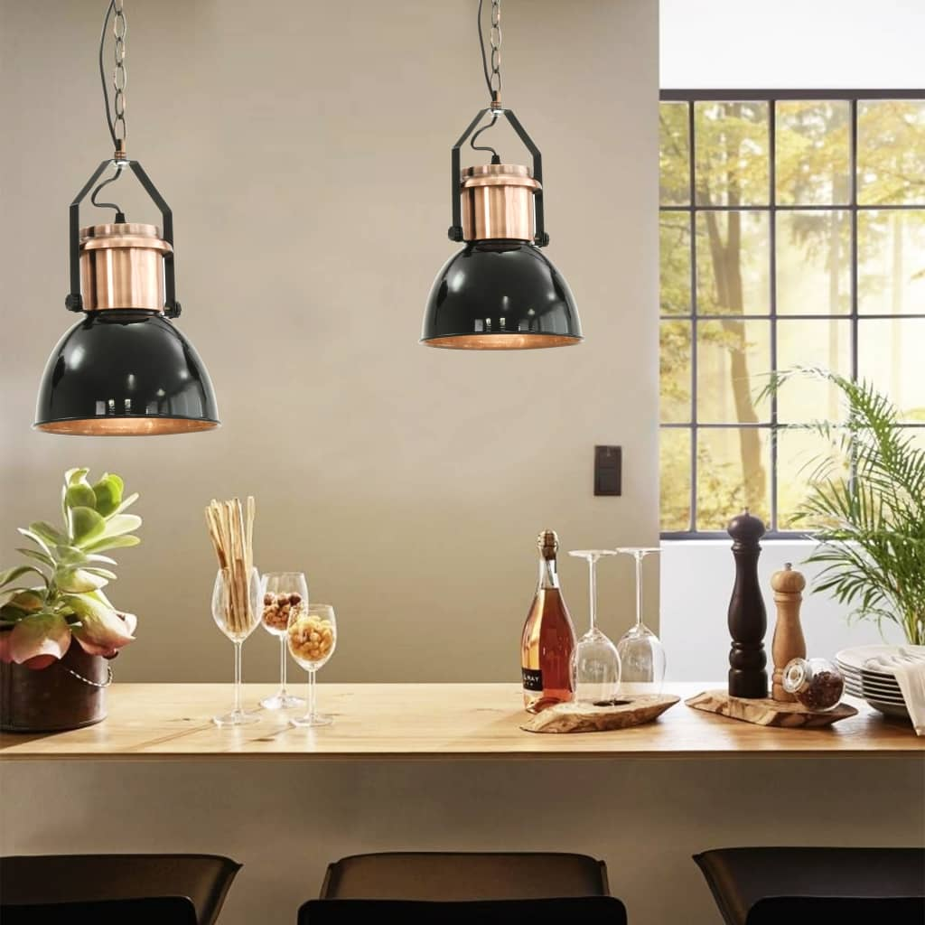 Comwinkel Plafondlampen 2 st rond E27 zwart