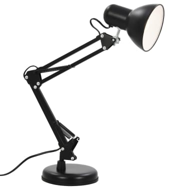 vidaXL Bureaulamp met verstelbare arm E27 zwart[2/13]