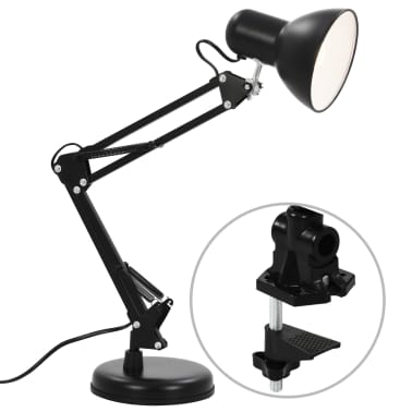 vidaXL Bureaulamp met verstelbare arm E27 zwart[3/13]