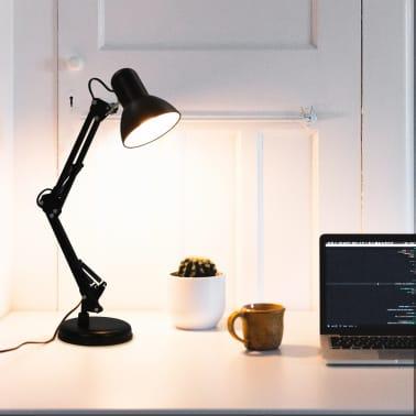 vidaXL Bureaulamp met verstelbare arm E27 zwart[1/13]