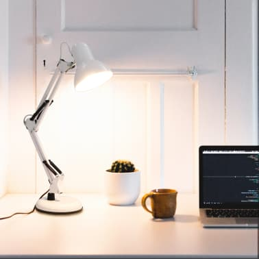 vidaXL Lampe de bureau à bras réglable Blanc E27[1/13]