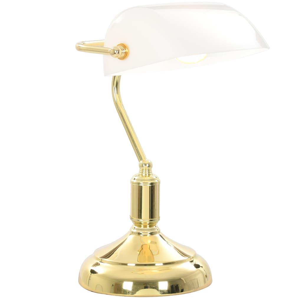 Wnieś nieco uroku vintage do swojego wnętrza za pomocą naszej eleganckiej lampy bankierskiej! Posiadająca biały klosz i wykończoną na złoto, metalową ramę, lampa stołowa będzie prawdziwą ozdobą Twojego domu lub biura.