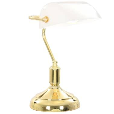 vidaXL Lámpara de mesa tipo banquero blanco y dorado 40W[2/13]