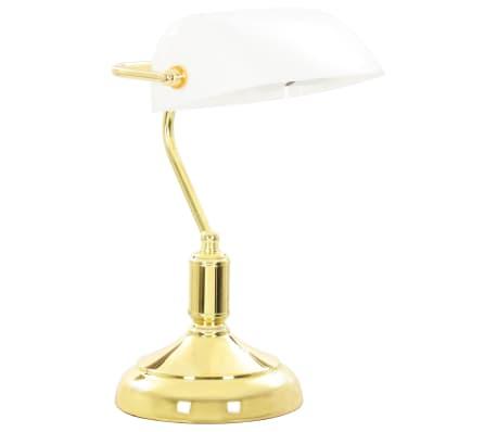 vidaXL Lámpara de mesa tipo banquero blanco y dorado 40W[3/13]