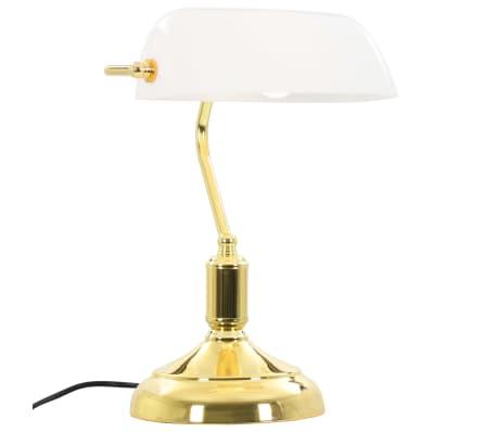 vidaXL Lámpara de mesa tipo banquero blanco y dorado 40W[4/13]